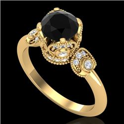 1.75 CTW Fancy Black Diamond Solitaire Engagement Art Deco Ring 18K Yellow Gold - REF-134K5W - 37403