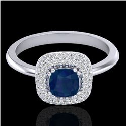 1.16 CTW Sapphire & Micro VS/SI Diamond Ring Double Halo 18K White Gold - REF-71K6W - 21035