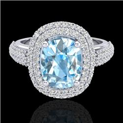 3.50 CTW Topaz & Micro Pave VS/SI Diamond Certified Halo Ring 10K White Gold - REF-94Y9X - 20709