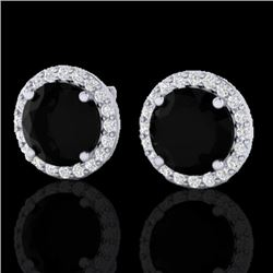4 CTW Halo Black VS/SI Diamond Certified Micro Pave Earrings 18K White Gold - REF-122M5F - 21480