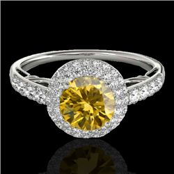 1.65 CTW Certified SI/I Fancy Intense Yellow Diamond Solitaire Halo Ring 10K White Gold - REF-178N2A