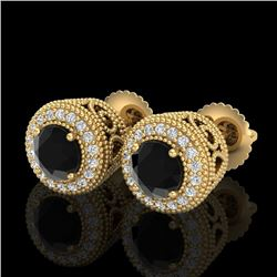 1.55 CTW Fancy Black Diamond Solitaire Art Deco Stud Earrings 18K Yellow Gold - REF-103A6V - 37655