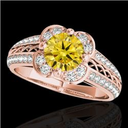 1.50 CTW Certified SI/I Fancy Intense Yellow Diamond Solitaire Halo Ring 10K Rose Gold - REF-180M2F