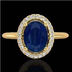 2 CTW Sapphire & Micro Pave VS/SI Diamond Ring Solitaire Halo 18K Yellow Gold - REF-56M9F - 21021