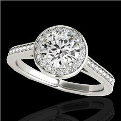 1.33 CTW H-SI/I Certified Diamond Solitaire Halo Ring 10K White Gold - REF-174X5R - 33508