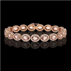 14.25 CTW Morganite & Diamond Bracelet Rose Gold 10K Rose Gold - REF-294V2Y - 40857