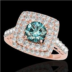 2.05 CTW SI Certified Fancy Blue Diamond Solitaire Halo Ring 10K Rose Gold - REF-225R5K - 34591