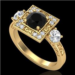 1.55 CTW Fancy Black Diamond Solitaire Art Deco 3 Stone Ring 18K Yellow Gold - REF-149W3H - 38173