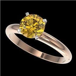 1.50 CTW Certified Intense Yellow SI Diamond Solitaire Ring 10K Rose Gold - REF-345K5W - 32931