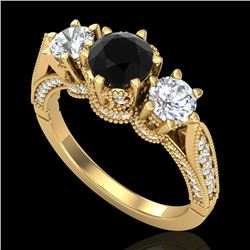 2.18 CTW Fancy Black Diamond Solitaire Art Deco 3 Stone Ring 18K Yellow Gold - REF-200H2M - 38110
