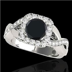 2 CTW Certified VS Black Diamond Solitaire Halo Ring 10K White Gold - REF-91X3R - 33319