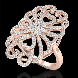 2.25 CTW Micro Pave VS/SI Diamond Designer Inspired Ring 14K Rose Gold - REF-176F7N - 20886