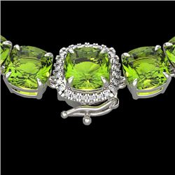 100 CTW Peridot & VS/SI Diamond Halo Micro Pave Necklace 14K White Gold - REF-528F9N - 23354