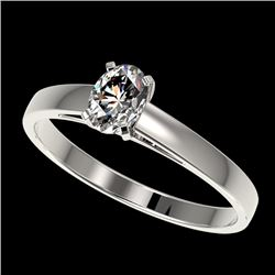 0.50 CTW Certified VS/SI Quality Oval Diamond Engagement Ring 10K White Gold - REF-64R3K - 32962