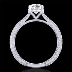 1.45 CTW VS/SI Diamond Art Deco Ring 18K White Gold - REF-400A2V - 37004