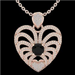 3.50 CTW Black & White Micro VS/SI Diamond Heart Necklace 14K Rose Gold - REF-173V6Y - 20498