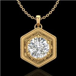0.76 CTW VS/SI Diamond Solitaire Art Deco Necklace 18K Yellow Gold - REF-178H2M - 36904