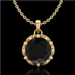 1.36 CTW Fancy Black Diamond Solitaire Art Deco Stud Necklace 18K Yellow Gold - REF-85R5K - 38103