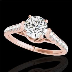 1.46 CTW H-SI/I Certified Diamond Solitaire Ring 10K Rose Gold - REF-204N5A - 34962