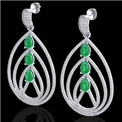 4 CTW Emerald & Micro Pave VS/SI Diamond Certified Earrings 18K White Gold - REF-307W3H - 22455