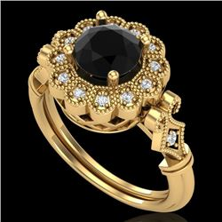 1.20 CTW Fancy Black Diamond Solitaire Engagement Art Deco Ring 18K Yellow Gold - REF-123X6R - 37830