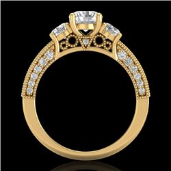 2.07 CTW VS/SI Diamond Solitaire Art Deco 3 Stone Ring 18K Yellow Gold - REF-270V2Y - 37018