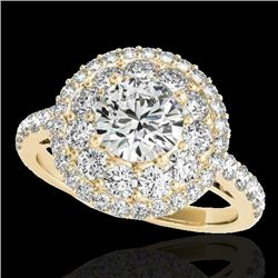 2.09 CTW H-SI/I Certified Diamond Solitaire Halo Ring 10K Yellow Gold - REF-220F2N - 33690
