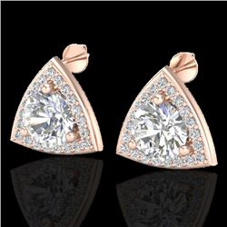 3 CTW Micro Pave Halo VS/SI Diamond Certified Stud Earrings 14K Rose Gold - REF-819Y5X - 20187