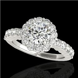 1.75 CTW H-SI/I Certified Diamond Solitaire Halo Ring 10K White Gold - REF-180R2K - 34159
