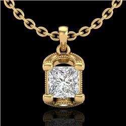 1.25 CTW Princess VS/SI Diamond Solitaire Art Deco Necklace 18K Yellow Gold - REF-315V2Y - 37156