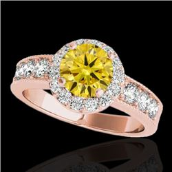 2.1 CTW Certified SI/I Fancy Intense Yellow Diamond Solitaire Halo Ring 10K Rose Gold - REF-308V2Y -