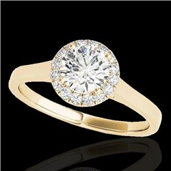 1.11 CTW H-SI/I Certified Diamond Solitaire Halo Ring 10K Yellow Gold - REF-167K3W - 33816
