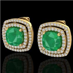 4.95 CTW Emerald & Micro Pave VS/SI Diamond Certified Halo Earrings 18K Yellow Gold - REF-116A4V - 2