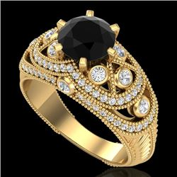 2 CTW Fancy Black Diamond Solitaire Engagement Art Deco Ring 18K Yellow Gold - REF-172R7K - 37977