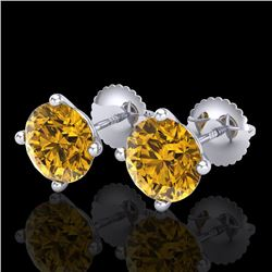 3.01 CTW Intense Fancy Yellow Diamond Art Deco Stud Earrings 18K White Gold - REF-472R7K - 38260