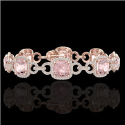 22 CTW Morganite & Micro VS/SI Diamond Certified Bracelet 14K Rose Gold - REF-575F5N - 23027