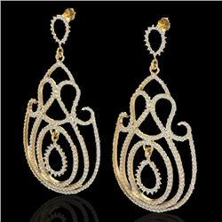 3.50 CTW Micro Pave Designer VS/SI Diamond Certified Earrings 14K Yellow Gold - REF-291R3K - 22448