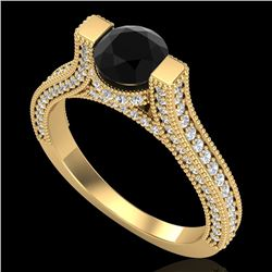 2 CTW Fancy Black Diamond Solitaire Engagement Micro Pave Ring 18K Yellow Gold - REF-160N2A - 37620