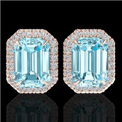 12 CTW Sky Blue Topaz And Micro Pave VS/SI Diamond Halo Earrings 14K Rose Gold - REF-67R8K - 21218