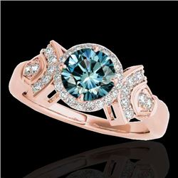 1.56 CTW SI Certified Fancy Blue Diamond Solitaire Halo Ring 10K Rose Gold - REF-209A3V - 34334