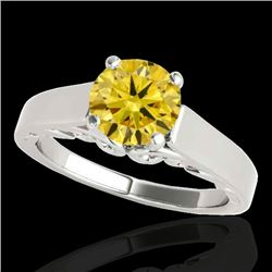 1 CTW Certified SI/I Fancy Intense Yellow Diamond Solitaire Ring 10K White Gold - REF-209M3F - 35144
