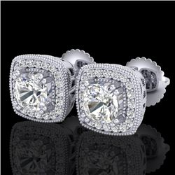 1.25 CTW Cushion Cut VS/SI Diamond Art Deco Stud Earrings 18K White Gold - REF-218V2Y - 37034