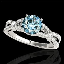 1.35 CTW SI Certified Fancy Blue Diamond Solitaire Ring 10K White Gold - REF-167N3A - 35228