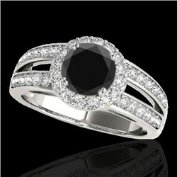 1.60 CTW Certified VS Black Diamond Solitaire Halo Ring 10K White Gold - REF-85A5V - 34250