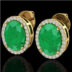 5.50 CTW Emerald & Micro VS/SI Diamond Halo Earrings 18K Yellow Gold - REF-81M8F - 20249