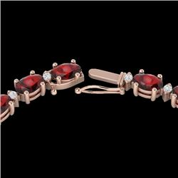 33 CTW Garnet & VS/SI Diamond Certified Eternity Tennis Necklace 10K Rose Gold - REF-149K3W - 21594
