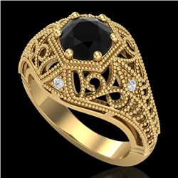 1.07 CTW Fancy Black Diamond Solitaire Engagement Art Deco Ring 18K Yellow Gold - REF-85K5W - 37550