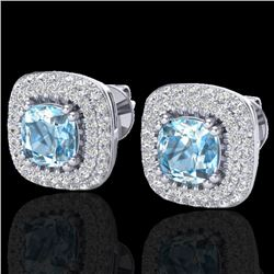 2.16 CTW Sky Blue Topaz & Micro VS/SI Diamond Earrings Halo 18K White Gold - REF-98A4V - 20336