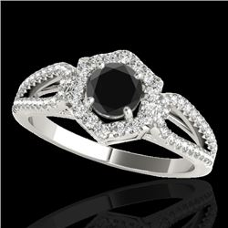1.43 CTW Certified VS Black Diamond Solitaire Halo Ring 10K White Gold - REF-71W3H - 34019