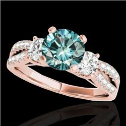 1.50 CTW SI Certified Fancy Blue Diamond 3 Stone Solitaire Ring 10K Rose Gold - REF-172A7V - 35409